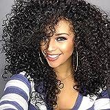 Pelucas de pelo rizado para mujer negra,pelucas de pelo humano Kinkys rizadas Afro pelucas de encaje frontal largas pelucas sintéticas onduladas con brazaletes de(WL9199)