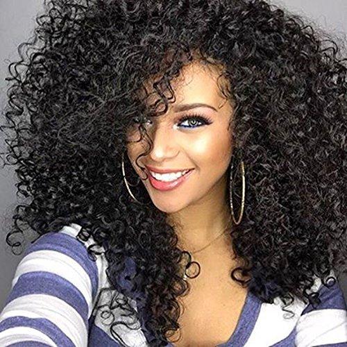 Perruque de cheveux naturels synthétiques pour femme noire - Cheveux bouclés et volumineux avec frange - Attache frontale - 50 cm - 280 g - WL9199