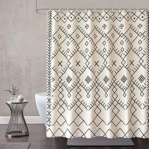 Dolii Boho Moroccan Fabric Shower Curtain, Tribal Beige Cream-Colored Geometric Trellis Polyester Bath Curtain Set, Decorative Spa Hotel Heavy Weighted 72-Inch Bathroom Curtains, (72 x 72, Beige)
