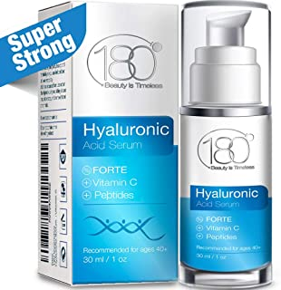 Hyaluronic Acid Vitamin C Facial Serum - Strong - 180 Cosmetics - Face Lift Skin Serum for Face and Eyes - Pure Hyaluronic Acid For Immediate Results - Hydrating - Anti Aging - Wrinkles - Fine Lines