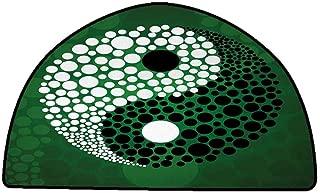 Floor mats for Kids Ying Yang,Digital Made Yin Yang Form Nature Zen Themed Meditation Decor Dots Design,Green Black White,W47 x L31 Half Round Low-Profile Mats