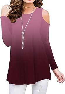 Sedimond Women's Cold Shoulder Casual Short/Long Sleeve Tunic Tops Loose Blouse Shirt S-2XL