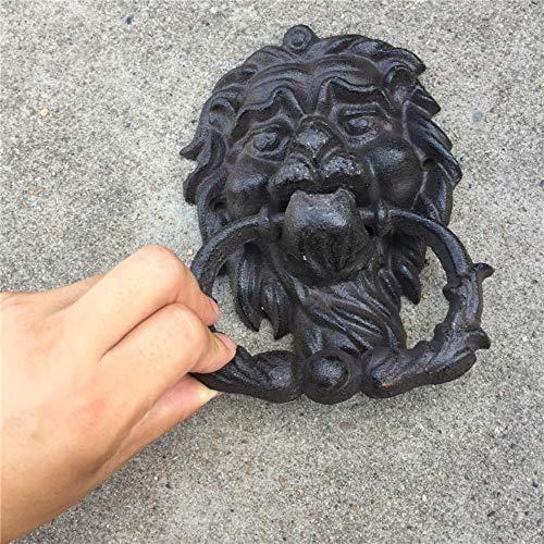 Qingsb Aldaba de Puerta Lion Doorknocker de Hierro Fundido Vintage Black Lionhead Door Latch Home Office Store Puerta Decoración Hierro Forjado Craft Retro