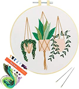 Louise Maelys Embroidery Kits for Beginners Full Range Funny Cross Stitch Starter Kits Needlepoint Kits for Adults with Floral Patterns DIY Embroidery Kit Decor
