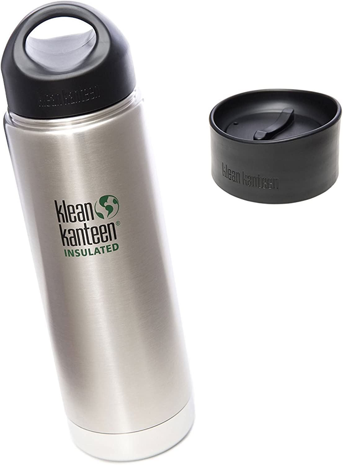 Klean Kanteen Coffee Set Wide Mouth Insulated Bottle w  2 Caps (Stainless Loop Cap and Cafe Cap)  Brushed Stainless 20 oz.