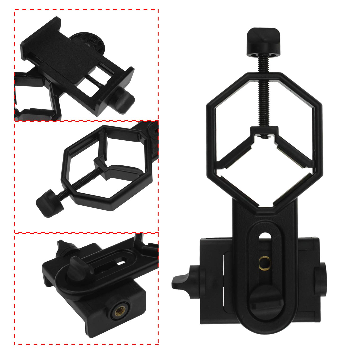 Astromania Universal Cell Phone Adapter Mount Support Binocular Monocular Spotting Scope Telescope and Microscope Optical Device Black