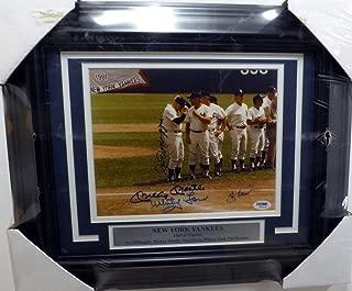 Mickey Mantle, Joe DiMaggio, Yogi Berra, Phil Rizzuto & Whitey Ford Autographed Framed 8x10 Photo New York Yankees PSA/DNA #W00034