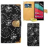 Wiko Pulp 4G Handy Tasche, FoneExpert® Bling Luxus Diamant Hülle Wallet Hülle Cover Hüllen Etui Ledertasche Premium Lederhülle Schutzhülle für Wiko Pulp 4G