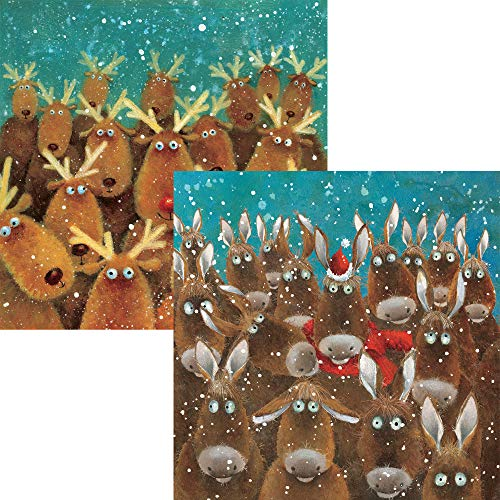 Charity Christmas Cards 2020 - Reindeers and Donkeys - 20 Christmas Cards Pack for Charity. 10 Each of 2 Designs. 80p in Support of The Stroke Association.