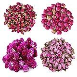 TooGet Flower Petals and Buds Incluye Rosa Roja, Bola de Peonía, Gomphrena globosa, Flores de Melocotón, Flor a Granel de Té Verde para Hacer Aceite Botánico, Tipo de Manualidades.