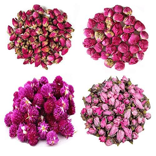 TooGet Getrocknete Natürliche Blumen Umfassen Rote Rosenblüten, Pfingstrosenkugel, Gomphrena globosa, Pfirsichblumen, Essbares Blumenset für Kerzenherstellungsbedarf, Alle Arten von Blumenhandwerk