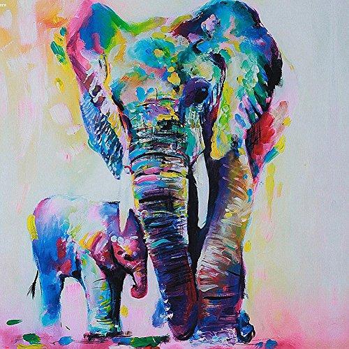 Gemini _ Mall® handgemaltes Ölgemälde bunter Elefant auf Leinwand rahmenlos modern Leinwandbild, Wandmontage Bild, Deko, canvas, elefant, 60 x 60 cm