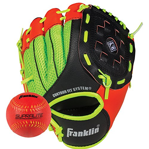 Franklin Sports Teeball Glove - Left and Right Handed Youth Fielding Glove - Neo-Grip - Synthetic Leather Baseball Glove - 9.0 Inch Right Hand Throw - Ready To Play Glove with Ball - Red