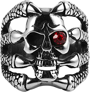 HZMAN Men's Stainless Steel Dragon Claw Ruby Eyes Skull Ring Band Vintage Fashion Gothic Biker Punk Rock
