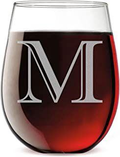 Monogram Etched 17oz Stemless Wine Glass (Letter M)