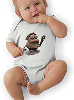 Aebipo 3D Cartoon Primitive Man Baby Bodysuit Baby Short Sleeve Jersey Baby Romper White