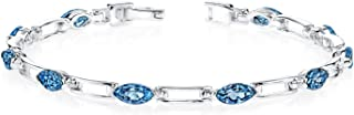 London Blue Topaz Bracelet Sterling Silver 5.75 Carats Marquise Cut