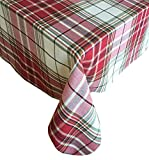 Sully Tartan Christmas Plaid Fabric Tablecloth, 100% Woven Cotton Holiday Tablecloth, 60 ' x 84'...