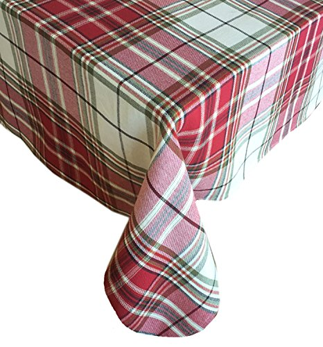 Sully Tartan Christmas Plaid Fabric Tablecloth, 100% Woven Cotton Holiday Tablecloth, 60 ' x 84' Oblong/Rectangle