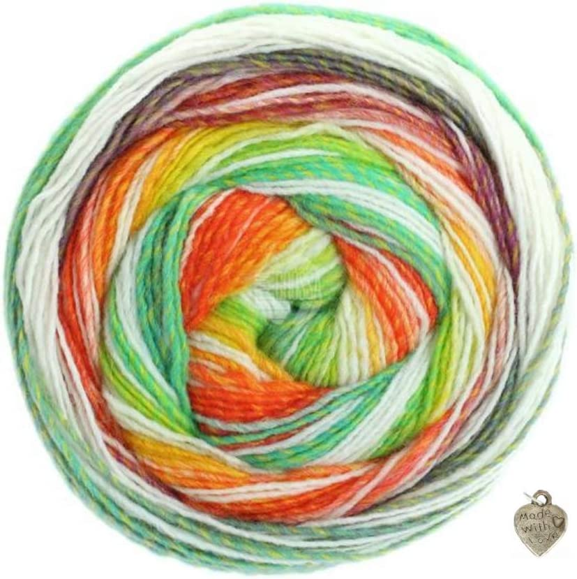 Ovillo de lana 200 g, con degradado de color y coraz/ón rosa//blanco//rojo//naranja//amarillo//pistacho//verde claro Lana Grossa Gomitolo Bene