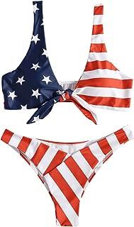 Tie Knot Front American USA Flag Bikini Set Triangle Cheeky Bottom Two-Piece Bathing Suit