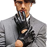 Men's Leather Winter Gloves Touchscreen Police Tactical for Car Motorcycle Driving Search Short Wrist Length (M, Black (Touchscreen))
