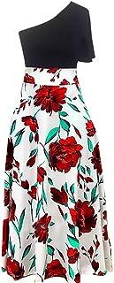 Vestiti Donna Estivi Vestiti Donna Eleganti Maxi Vestito Floreale Sexy Flare Sleeve Bohe Vestito Longuette per Donna con S...