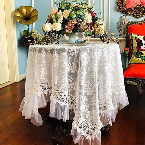 Dressing Tischdecke Runde/rechteckige Tischdecke Spitze-Gaze Tischdecke, Beige,Mädchen Make-up Tischdecke,Drinnen und draußen