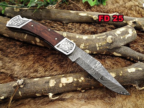 Damascus Steel Blade Back Lever Lock Folding Knife, Walnut Wood Scale with Engraved Steel Bolster, Leather Sheath Included