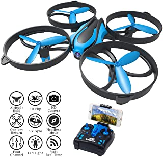 RCtown Drone with Camera Live Video, ELF II HW Mini WiFi FPV Drone for Kids, Altitude Hold Height Headless Mode 3D 360° Flips & Rolls RC Quadcopter Super Easy Fly for Beginners (Blue)