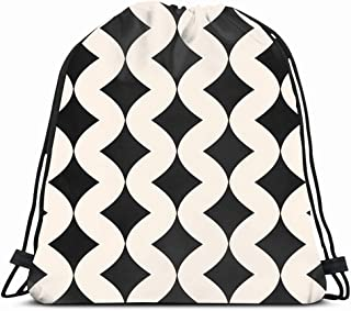 Ahawoso Gym Drawstring Bags Backpack String Bag 14X16 Wavy Luxury Rhombus Pattern Curvature Simple Abstract Mosaic Black White Graphic Canvas Carpet Curly Sport Sackpack Hiking Yoga Travel Beach