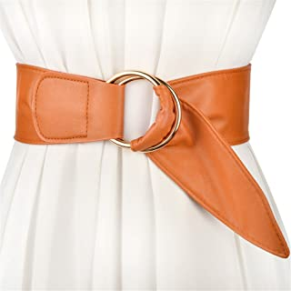 LONFENNE Lady Wide Belt Fashion Double Ring Buckle with Skirt Trim Belt Female Waist Seal,Brown -100cm