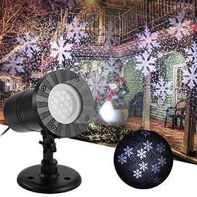 Outdoor Christmas Projector Lights, Sunsbell Led Snowflake Landscape Spotlight, LED Sparkling Snow Laser Light Waterproof Outdoor Indoor Lighting Party Decorations