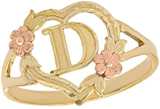 CaliRoseJewelry 10k Gold Initial Alphabet Personalized Heart Ring - Letter D