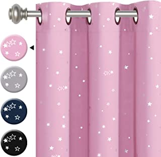 H.VERSAILTEX Night Twinkle Thermal Insulated Blackout Curtain, Creative Room Darkening Grommet Nursery Window Drape for Kid's Room with Sliver Stars, 1 Panel, W40 x L63 inch