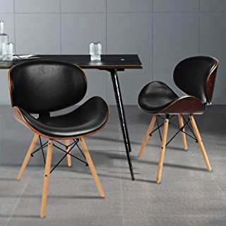 Cchainway Set of 2 Mid-Century Upholstered Faux Leather Walnut Finished Curved Back Dining Kitchen Accent Chair, Black