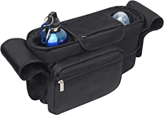 Martofbaby Baby Stroller Bag Organizer Black with Insulated Cup Holder for Bottle,Diaper, Toys