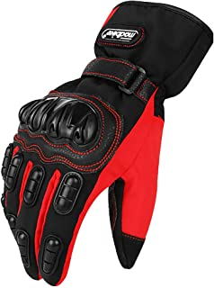ILM Motorcycle Gloves Winter Windproof Hard Knuckle Protection for Men Women Motorbike Motocross (L, Red)