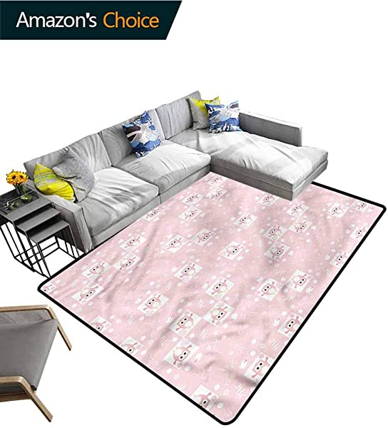 TableCoversHome Kids Natural Fiber Area Rug For Baby Nursery Pink Owls Birds Floral Pattern Printing Carpet Easy Maintenance Area Rug Living Room Bedroom Carpet 2 X 6