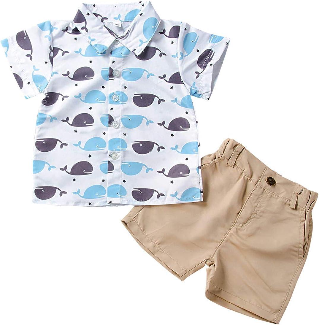 AmzBarley Toddler Boys Clothes Button Down Shirt + Shorts Set Kids Short Sleeve Top and Pockets Shorts Outfits Set