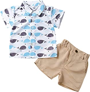 AmzBarley Baby Boy Shorts Sets Summer Outfit Clothes Toddler Kids Letter Printed Top+Denim Shorts Casual Suits