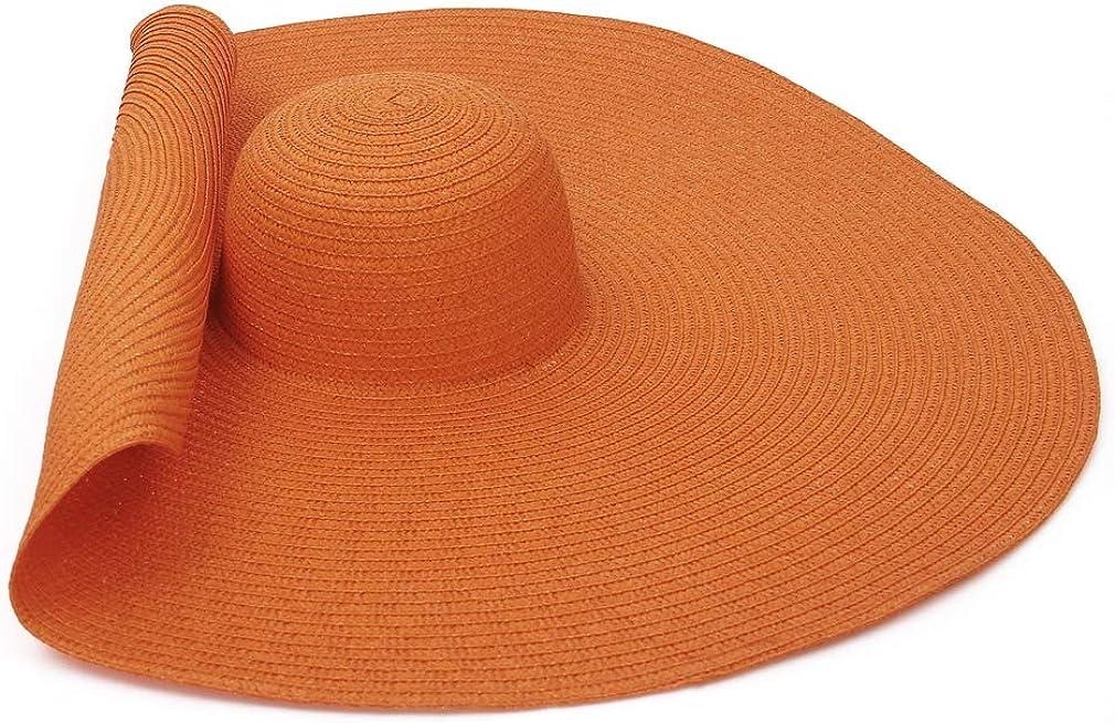 GEMVIE Oversized Straw Hat for Women Wide Brim Summer Sun Hat Packable Straw Floppy Beach Sun Hat