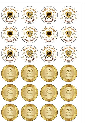 Lot de 24 décorations de mariage anniversaire 50 ans Celebration plaquette comestibles Papier Cake Toppers décorations