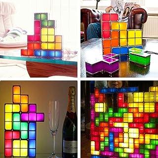 BEITAI 1Set DIY 3D Tetris Puzzle Light Lámpara de escritorio LED apilable Bloque construible LED, Los mejores regalos de Año Nuevo de cumpleaños para niños, niñas, bebés, luz de clóset, aplique de par