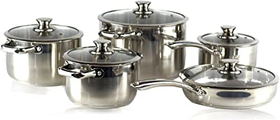 Gourmet Chef 10 Piece Stainless Steel Cookware Set.