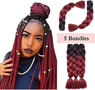 Ombre Jumbo Braiding Hair Black to Dark Red 5 Bundles Crochet Twist Hair Extensions 24 inch Two-Tone Long Box Braids Heat Resistance Synthetic Hair for Women DIY Fun(24