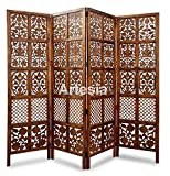 Artesia Traditional Handcrafted 4 Panel Wooden Partition Screen/Room Divider (Brown)