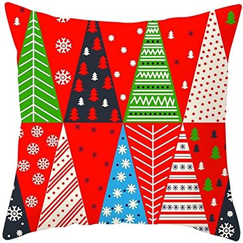 SYyshyin Cojín de almohada con estampado navideño para decoración del hogar, 45 cm x 45 cm (color: C)