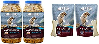 Meat Up Mutton Flavour, Real Chicken Biscuit, Dog Treats -500g Jar (Buy 1 Get 1 Free) & Meat up Calcium Bone Pouch, Dog Treats - 25 Pieces (230 gm) (Buy 1 GET 1 Free)