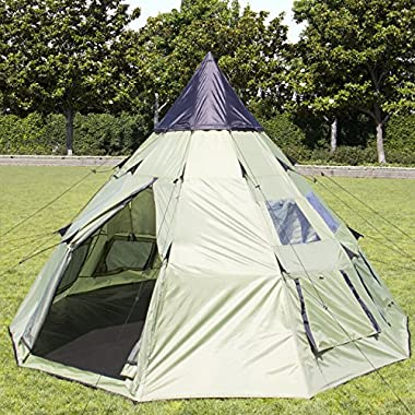 Best Choice Products 10'x10' Teepee Camping Tent Family Outdoor Sleeping Dome W/Carry Bag